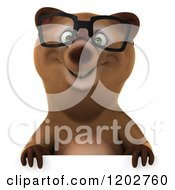 Clipart Of A 3d Happy Bear Mascot Wearing Glasses Over A Sign Royalty Free CGI Illustration