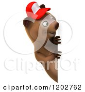 Clipart Of A 3d Happy Bear Mascot Wearing A Hat And Looking Around A Sign Royalty Free CGI Illustration