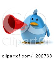 Clipart Of A 3d Bluebird Using A Megaphone 3 Royalty Free CGI Illustration