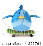 Clipart Of A 3d Chubby Blue Bird Skateboarding 3 Royalty Free CGI Illustration
