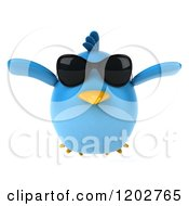Clipart Of A 3d Chubby Blue Bird Wearing Sunglasses And Flying Royalty Free CGI Illustration