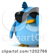 Clipart Of A 3d Chubby Blue Bird Wearing Sunglasses And Looking Around A Sign Royalty Free CGI Illustration
