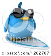 Clipart Of A 3d Chubby Blue Bird Wearing Sunglasses And Surfing Royalty Free CGI Illustration