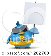 Clipart Of A 3d Chubby Blue Bird Wearing Sunglasses And A Ducky Inner Tube And Holding A Sign Royalty Free CGI Illustration