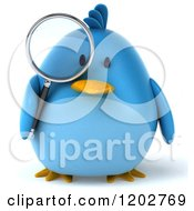 Clipart Of A 3d Bluebird Using A Magnifying Glass 3 Royalty Free CGI Illustration