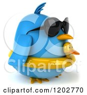Clipart Of A 3d Chubby Blue Bird Wearing Sunglasses And A Ducky Inner Tube 2 Royalty Free CGI Illustration