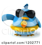 Clipart Of A 3d Chubby Pointing Blue Bird Wearing Sunglasses And A Ducky Inner Tube Royalty Free CGI Illustration