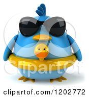 Clipart Of A 3d Chubby Blue Bird Wearing Sunglasses And A Ducky Inner Tube Royalty Free CGI Illustration