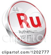 Clipart Of A 3d Floating Round Red And Silver Ruthenium Chemical Element Icon Royalty Free Vector Illustration