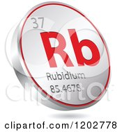 Clipart Of A 3d Floating Round Red And Silver Rubidium Chemical Element Icon Royalty Free Vector Illustration