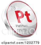 Clipart Of A 3d Floating Round Red And Silver Platinum Chemical Element Icon Royalty Free Vector Illustration