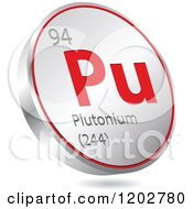 Clipart Of A 3d Floating Round Red And Silver Plutonium Chemical Element Icon Royalty Free Vector Illustration
