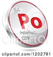 Clipart Of A 3d Floating Round Red And Silver Polonium Chemical Element Icon Royalty Free Vector Illustration