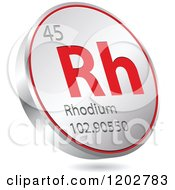 Clipart Of A 3d Floating Round Red And Silver Rhodium Chemical Element Icon Royalty Free Vector Illustration