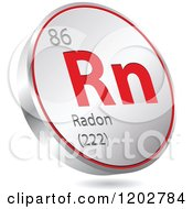 Clipart Of A 3d Floating Round Red And Silver Radon Chemical Element Icon Royalty Free Vector Illustration
