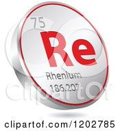 Clipart Of A 3d Floating Round Red And Silver Rhenium Chemical Element Icon Royalty Free Vector Illustration
