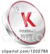 Clipart Of A 3d Floating Round Red And Silver Potassium Chemical Element Icon Royalty Free Vector Illustration