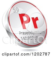 Clipart Of A 3d Floating Round Red And Silver Praseodymium Chemical Element Icon Royalty Free Vector Illustration
