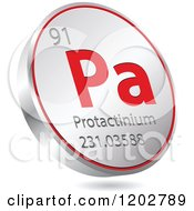 Clipart Of A 3d Floating Round Red And Silver Protactinium Chemical Element Icon Royalty Free Vector Illustration