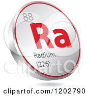 Clipart Of A 3d Floating Round Red And Silver Radium Chemical Element Icon Royalty Free Vector Illustration