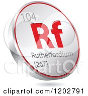 Clipart Of A 3d Floating Round Red And Silver Rutherfordium Chemical Element Icon Royalty Free Vector Illustration