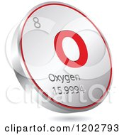 Clipart Of A 3d Floating Round Red And Silver Oxygen Chemical Element Icon Royalty Free Vector Illustration