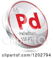 Clipart Of A 3d Floating Round Red And Silver Palladium Chemical Element Icon Royalty Free Vector Illustration