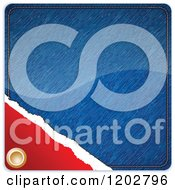 Clipart Of A Blue Jean Retail Label Tag Royalty Free Vector Illustration