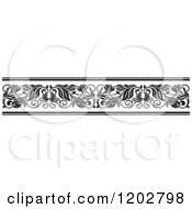 Clipart Of A Vintage Black And White Ornate Floral Border Design 4 Royalty Free Vector Illustration