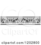 Clipart Of A Vintage Black And White Ornate Floral Border Design 2 Royalty Free Vector Illustration