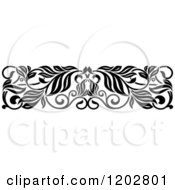 Clipart Of A Vintage Black And White Ornate Floral Border Design 3 Royalty Free Vector Illustration