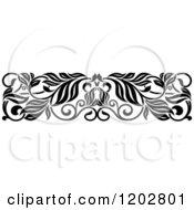 Clipart Of A Vintage Black And White Ornate Floral Border Design 3 Royalty Free Vector Illustration