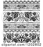 Clipart Of Vintage Black And White Ornate Floral Border Designs Royalty Free Vector Illustration