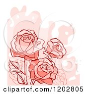 Clipart Of A Pastel Rose Background With Grunge On Off White Royalty Free Vector Illustration