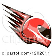Clipart Of A Red Racing Helmet With Spikes Royalty Free Vector Illustration