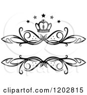 Clipart Of A Vintage Black And White Swirl Frame With A Crown And Luxury Stars 2 Royalty Free Vector Illustration