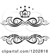 Clipart Of A Vintage Black And White Swirl Frame With A Crown And Luxury Stars 3 Royalty Free Vector Illustration