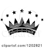 Clipart Of A Black And White Crown With Luxury Stars Royalty Free Vector Illustration