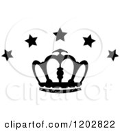 Clipart Of A Black And White Crown With Luxury Stars 2 Royalty Free Vector Illustration