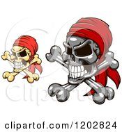 Clipart Of Pirate Skulls And Crossbones With Red Bandanas Royalty Free Vector Illustration
