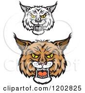 Clipart Of Hissing Bobcat Faces Royalty Free Vector Illustration by Vector Tradition SM