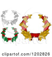 Clipart Of Leaf And Red Ribbon Wreath Coats Of Arms 2 Royalty Free Vector Illustration