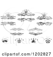 Clipart Of Vintage Black And White Frames Crowns And Luxury Stars Royalty Free Vector Illustration