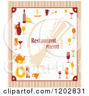 Clipart Of A Restaurant Menu With Dishes Over Stripes Royalty Free Vector Illustration