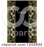 Clipart Of A Vintage Black And Gold Ornate Background With Copy Space And Luxury Text Royalty Free Vector Illustration