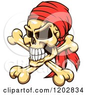 Clipart Of A Pirate Skull And Crossbones With A Red Bandana Royalty Free Vector Illustration