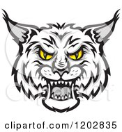 Clipart Of A Hissing Grayscale Bobcat Face With Yellow Eyes Royalty Free Vector Illustration by Vector Tradition SM