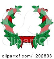 Clipart Of A Green Leaf And Red Ribbon Wreath Coat Of Arms 2 Royalty Free Vector Illustration