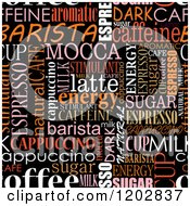 Clipart Of A Seamless Coffee Word Collage Over Black Royalty Free Vector Illustration by Vector Tradition SM