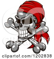 Clipart Of A Grayscale Pirate Skull And Crossbones With A Red Bandana Royalty Free Vector Illustration